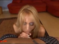 Trashy hot blond slut deepthroats till big cum load in mouth and swallow