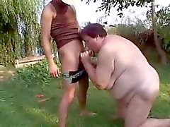 Dirty BBW Granny Fucked Outdoors