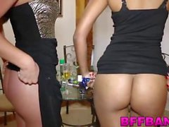 Tiny brunette BFFs love to party and fuck hard on New Years