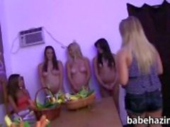 Sorority lesbians pussy stuffed with fruits and vegetables