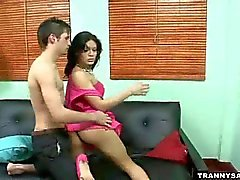Tasty latina shemale hottie sucking on a hard cock
