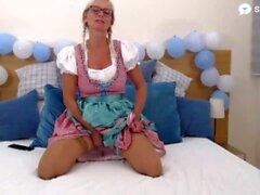 'Dirtytina, a German Milf Pornstar Cums After Playing With Her Pussy With A Big Dildo Vibrator During her Oktoberfest Show'