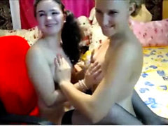 Amazing Lesbian Threesome With Stockings scene