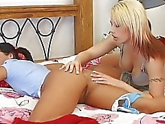 Blonde busty lesbian licks brunettes as while she sleeps on bed