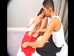 Sexy Asian tranny exchanges hot blowjobs with a horny guy o
