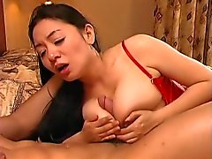 big titted chinese gal in red stockings is mediocre fuck