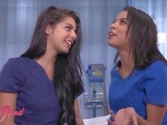 'Girls Grind - Stunning Babe Nurses Maya Bijou And Gina Valentina Fuck Each Other In A Hospital Room'