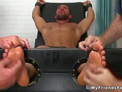 Hunk Bruno Bernal gets tickled and aroused by his two buds