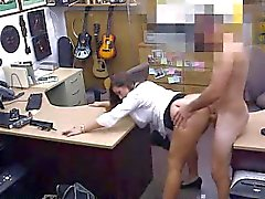 Brunette sucks cock and gets fucked at the pawn shop