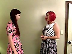 Chubby redhead lady wears strapon to fuck tranny Chelsea Poe