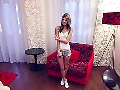 Skinny petit russe teen casting interview.