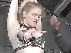 Blonde slave Carly Raes rough blowjob and tied
