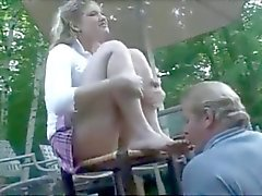 young princess use old male feet slave