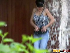 Cutie wets her pants under the awning
