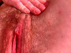 Next-door sweet girl fingering her hairy pussy