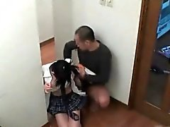 Awesome asian college girl is rubbing