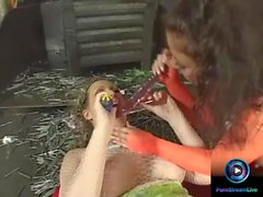 Mandy Bright and Maria Belucci stuffing two dildos