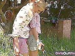 Girls Out West - Skinny blonde lesbians in the backyard