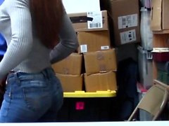 Ebony babe gets fucked on office desk