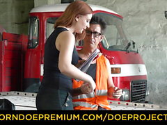 BROKEDOWN BABES - Redhead fucks helpful truck driver