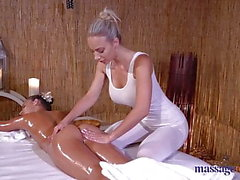 Massage Rooms Sexy brunette Amirah Adara and big tits blonde