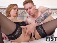 FIST4K. Tongue and cock warm girl but she needs fist in ass for satisfaction
