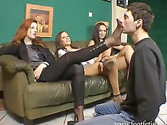 Goddess Victoria has her feet worshipped while her two friend watch