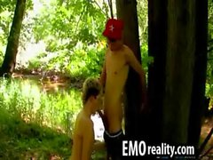Two sexy emo teens go into the woods to explore each other