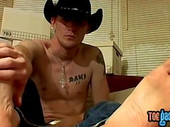 Cowboy gay Lee Barstow and Ty cumshot and foot fetish