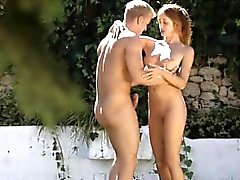 Sporty red haired teen Michelle pussy pounded outdoors