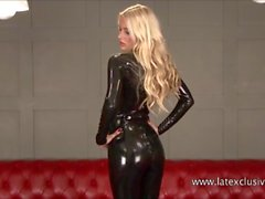 Sexy blonde fetish babe Alessandras latex wear
