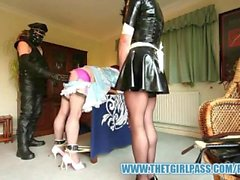Naughty TGirl maids bondage spanking punishment for caught playing together