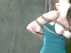 Breast and box tied bondage to useless submissive skank