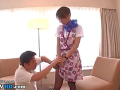 japanese sweet babe gives nylons footjob