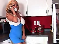 Gorgeous blonde licks a massive dildo part5