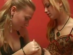 lesbian sister´s domme slave girl with feet and spit