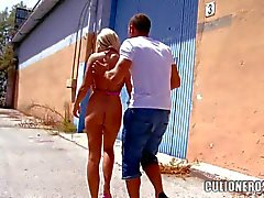 Blonde with giant Tits Jordan Pryce takes dick in public