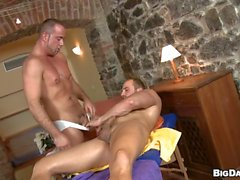 Nicelooking lad is delighting twink with blowjobs